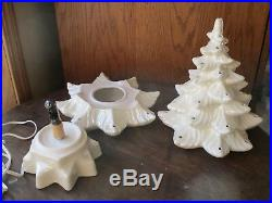 Vtg 3 pc Ceramic Atlantic Mold Christmas Tree 16 White Pearl with Blue Birds