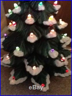 Vtg 4 PIECE ATLANTIC Mold Ceramic CHRISTMAS TREE Light Snow cap 25 green base