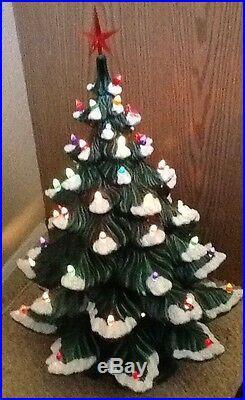 Vtg 4 Pc ATLANTIC Mold Ceramic CHRISTMAS TREE Lights bulbs star Snow tips 28x16