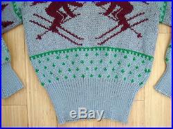 Vtg 40s JERSILD 100% Thick Wool Xmas Tree Ski Sweater Snowflakes Rockabilly RARE