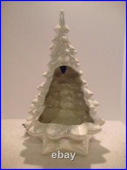 Vtg 5 Pc Holland Mold 19 Ceramic Christmas Tree Nativity Pearl White Figures