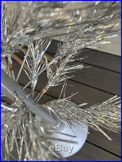 Vtg 50s 6 Ft. ALUMINUM Christmas TREE Alcoa METAL TREES CORP with BOX Glitter Pine