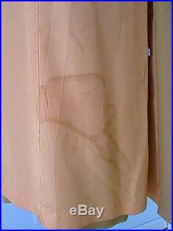 Vtg 50s 60s 100% Camel Hair Coat Folk Art Christmas Tree Reindeer Patches S/M