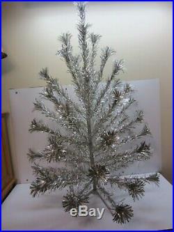 Vtg 50s Silver Aluminum Tinsel Pom Pom Sparkler Christmas Tree 52 Branches 4 ft
