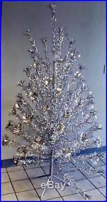 Vtg 6 Sparkler Pom Pom Christmas Tree Silver Metallic