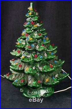 Vtg 70's Atlantic Mold 23 Ceramic Green Christmas Tree Bird Peg Light SEE VIDEO