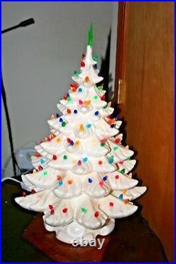 Vtg 70's White Iridescent 4 Piece Ceramic Christmas Tree Atlantic Mold 22 1/2