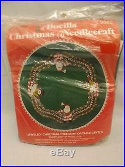 Vtg 70s Bucilla NEW Candyland Santa Snowman 54 Jeweled Felt XMas Tree Skirt Kit