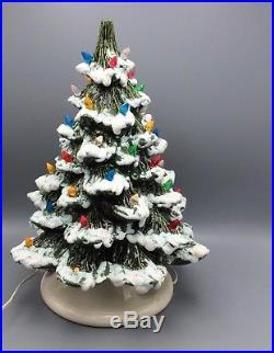 Vtg 83 Ceramic Christmas Tree Flocked Musical Base Plays Silent Night Signed 16