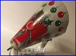 Vtg Aluminum Christmas Spotlight Bow Pine Tree Holly Ornament Stand MCM Atomic