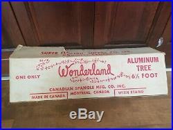 Vtg Aluminum Christmas Tree 61/2 FT 57 Branch Super Electric Supply Wonderland