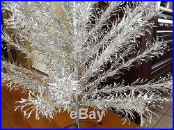 Vtg Aluminum Suprem Christmas Silver Tree 6 1/2 FT 53 Branch 1960 Superb W Box