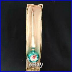 Vtg Antique Shiny Brite Aluminum X-mas Tree Topper W. Germany Mercury Glass withBox