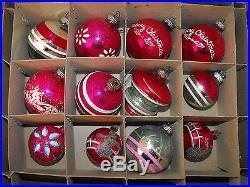 Vtg Antique Unsilvered Glass Pink Shiny Brite Christmas Tree Ornament Bulb Lot