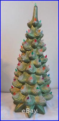 Vtg Art Deco Atlantic Mold Ceramic Christmas Tree Snow Lights Up Musical 24RARE