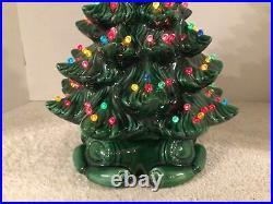 Vtg Atlantic Mold 17.5 Green Glazed 2pc Ceramic Tree Scroll Base Pin Pegs Star