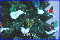 Vtg Atlantic Mold 21 Flocked Snow Ceramic Christmas Tree Extra Large Bulbs