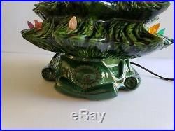 Vtg Atlantic Mold 70's 23 Ceramic Green Christmas Tree Lamp with Base