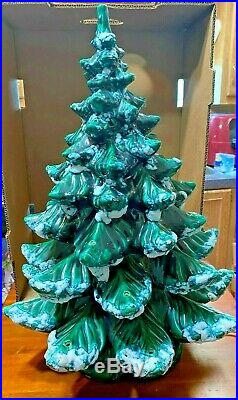Vtg Atlantic Mold Ex-Large Ceramic Christmas Tree Multi Colored Bulbs Included