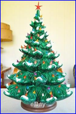 Vtg Atlantic Mold Large Flocked Snow Ceramic Christmas Tree 24 150