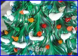 Vtg Atlantic Mold Large Flocked Snow Ceramic Christmas Tree 24 150+ bulbs