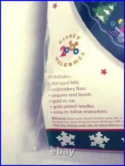 Vtg BUCILLA Disney Christmas Tree Skirt Train Pooh & Friends Kit Felt Applique