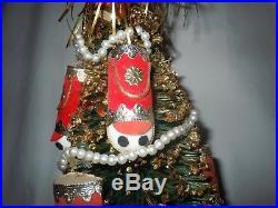Vtg Bottle Brush Musical Rotating Christmas Tree Knee Hugger Pixie Elf Topper