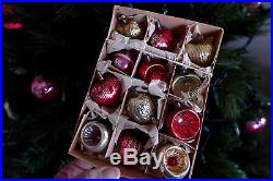 Vtg Box 12 Glass Feather Tree Antique Xmas Ornaments Bumpy Hearts Indent Fruit