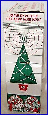 Vtg Bradford Celestial Star Light Christmas Tree Topper Moving Nativity with Box