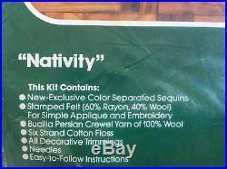 Vtg Bucilla Nativity Christmas Tree Skirt Kit Jeweled 45 Green Felt Creche 3576