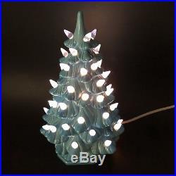 Vtg Ceramic Christmas Blue Tree Lights Base Holland Mold 10 Switch On Off Bulb