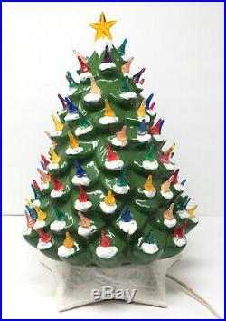 Vtg Ceramic Christmas Tree Lighted 2pc Metallic Astro Rocket Bulbs Signed 1964