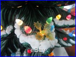 Vtg Ceramic Frosted Christmas Tree with Doves Swans Flowers Light Bulbs 25 WORKS