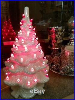 Vtg Ceramic Handmade Iridescent White Valentine's Christmas Tree 17 Lighted Red