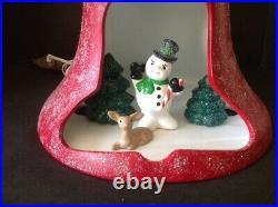 Vtg Ceramic Mold 11 Bell Diorama Light Up Snowman Trees Deer Christmas Decor