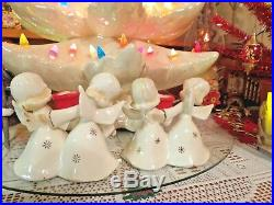 Vtg Christmas Dancing Angels Candle Holders SET OF TWO FOUR ANGELS Two TREES