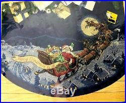 Vtg Christmas Dimensions GOLD Cross Stitch Tree Skirt HERE COMES SANTA Blue Open