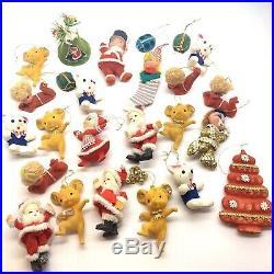 Vtg Christmas Felt Flocked Ornaments Japan 25 Elf Bear Santa Tree Xmas Kitsch