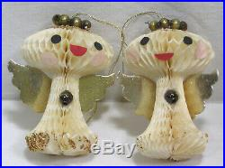 Vtg Christmas HOLT Howard RARE Honeycomb Paper Angel Tree Ornaments SIX in OB
