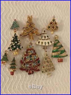 Vtg Christmas Tree Brooch Pin Lot Rhinestones Enamels Christopher Radko Lot 10