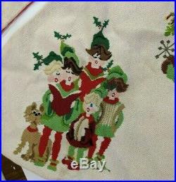 Vtg Christmas Tree Skirt Needlepoint Sleeping Santa Mrs. Clause Elves Fireplace