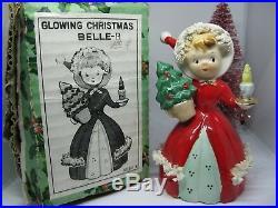 Vtg Christmas shopper girl bell Glowing candle tree Norcrest Japan Lefton Angel