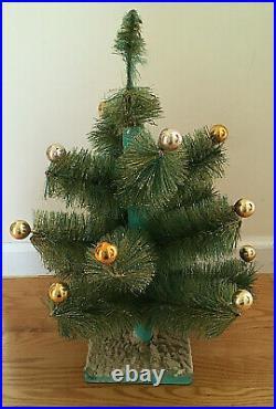 Vtg Consolidated Bottle Brush Green Xmas Tree withGold Mercury Glass Balls MCM