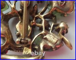 Vtg Coro Xmas Tree w Ribbon Glass Leaves Rhinestone Pave Unusual Pin Brooch RARE