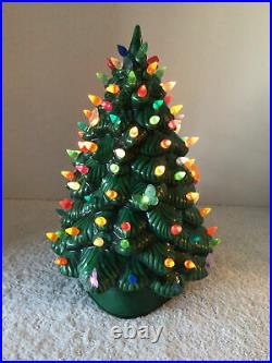 Vtg Cramer Mold 13 Green Glazed 2 Pc Ceramic Xmas Tree Lighted Triangle Base