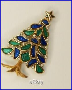 Vtg Crown Trifari Xmas Tree Pin Brooch Alfred Philippe Gold Tone Poured Glass