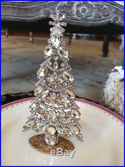 Vtg Czech Rhinestone Free Standing Christmas Tree Display Jeweled Frame