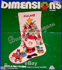 Vtg Dimensions SANTA & TREE Crewel Christmas Stocking Kit RARE