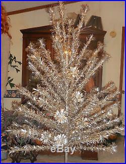 Vtg EVERGLEAM 6 Ft POM POM Aluminum Christmas Tree FULL POM POM Branches