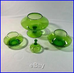 Vtg Empoli Italy Green Christmas Tree Stacking Glass Candy Dish 12 w Stickers